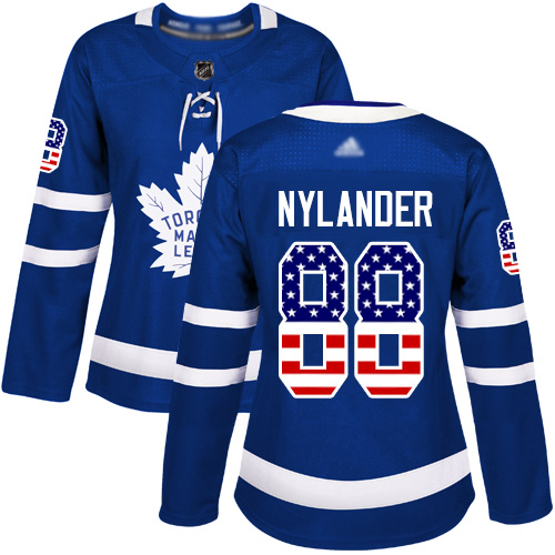 Maple Leafs #88 William Nylander Blue Home Authentic USA Flag Women's Stitched Hockey Jersey