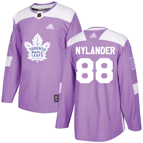 Maple Leafs #88 William Nylander Purple Authentic Fights Cancer Stitched Youth Hockey Jersey