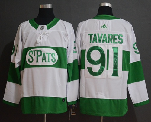 Maple Leafs #91 John Tavares White Authentic St. Pats Stitched Hockey Jersey