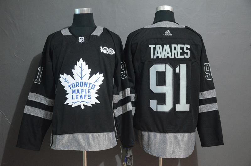 Maple Leafs 91 John Tavares Black 1917-2017 100th Anniversary Adidas Jersey