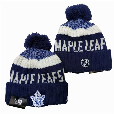 Maple Leafs Team Logo Navy Wordmark Cuffed Pom Knit Hat YD