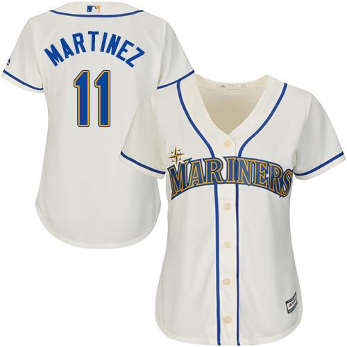 Mariners #11 Edgar Martinez Cream Alternate Women's Stitched Baseball Jersey