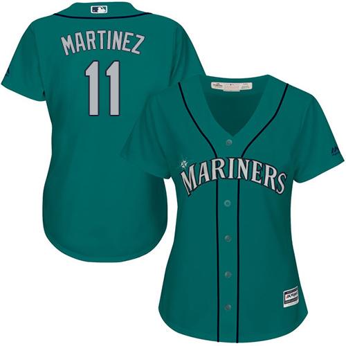 Mariners #11 Edgar Martinez Green Alternate Women's Stitched Baseball Jersey