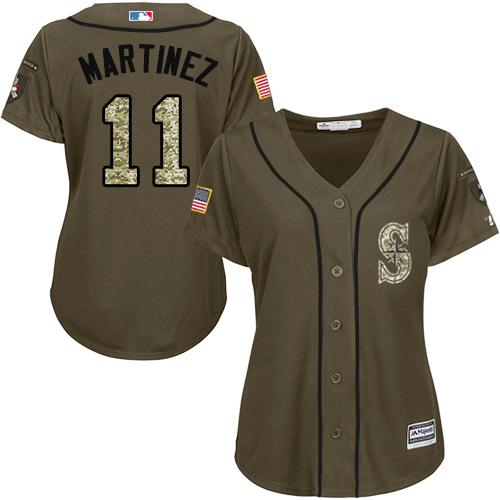 Mariners #11 Edgar Martinez Green Salute to Service Women's Stitched Baseball Jersey
