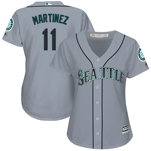 Mariners #11 Edgar Martinez Grey Road Women's Stitched Baseball Jersey