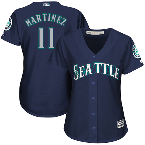 Mariners #11 Edgar Martinez Navy Blue Alternate Women's Stitched Baseball Jersey