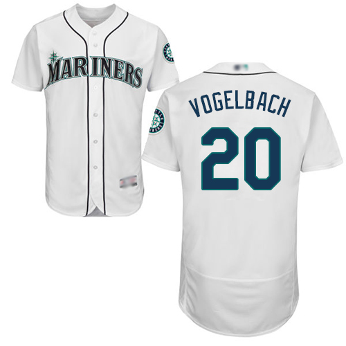Mariners #20 Dan Vogelbach White Flexbase Authentic Collection Stitched Baseball Jersey