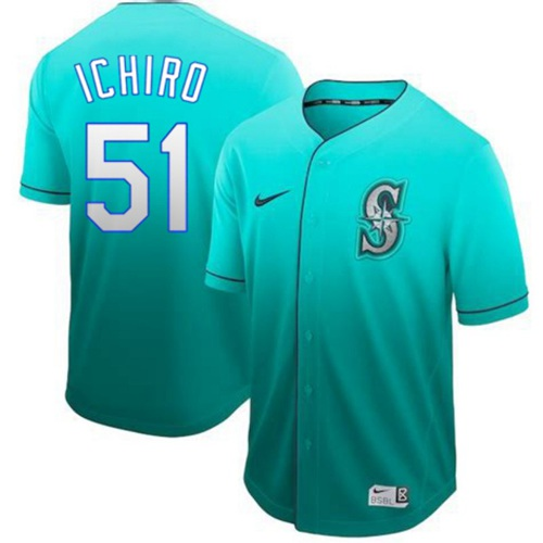 Mariners #51 Ichiro Suzuki Green Fade Authentic Stitched Baseball Jersey
