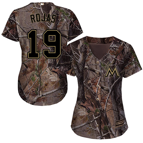 Marlins #19 Miguel Rojas Camo Realtree Collection Cool Base Women's Stitched Baseball Jersey
