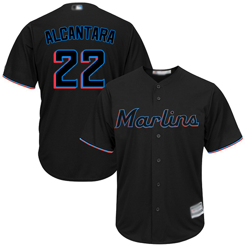 Marlins #22 Sandy Alcantara Black Cool Base Stitched Youth Baseball Jersey