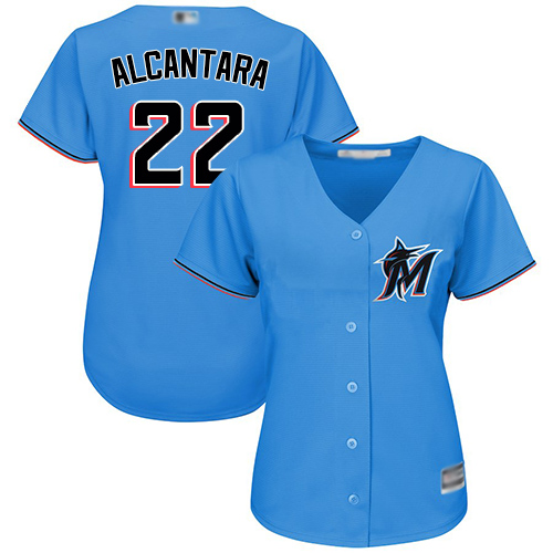 Marlins #22 Sandy Alcantara Blue Alternate Women's Stitched Baseball Jersey