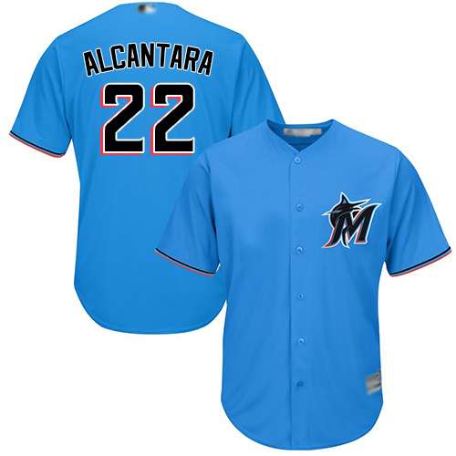 Marlins #22 Sandy Alcantara Blue Cool Base Stitched Youth Baseball Jersey