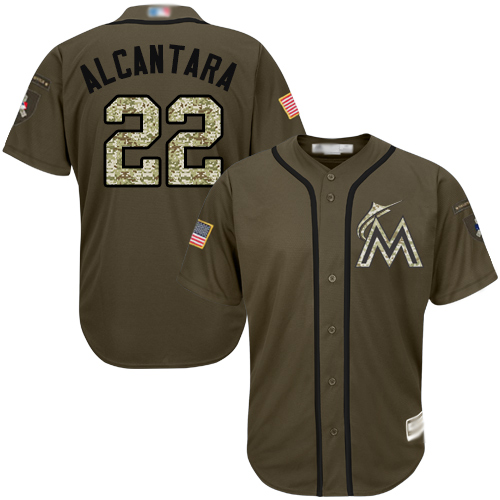 Marlins #22 Sandy Alcantara Green Salute to Service Stitched Youth Baseball Jersey