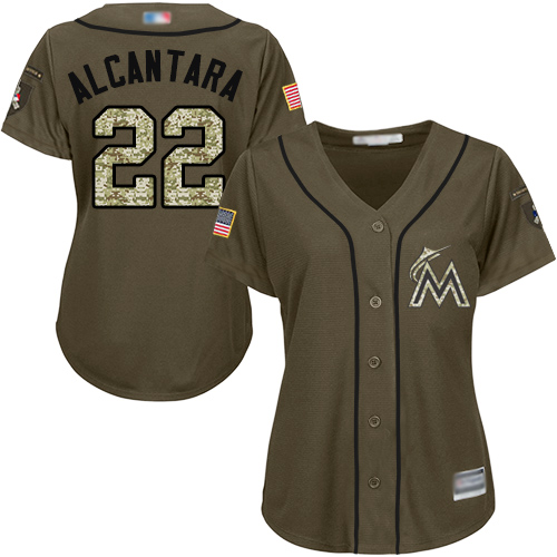 Marlins #22 Sandy Alcantara Green Salute to Service Women's Stitched Baseball Jersey