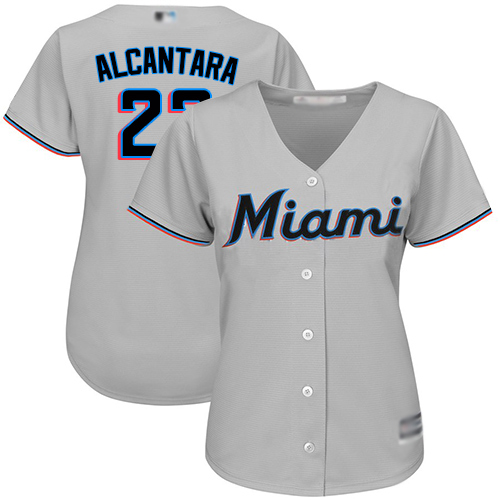 Marlins #22 Sandy Alcantara Grey Road Women's Stitched Baseball Jersey