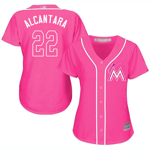 Marlins #22 Sandy Alcantara Pink Fashion Women's Stitched Baseball Jersey
