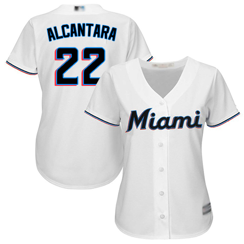 Marlins #22 Sandy Alcantara White Home Women's Stitched Baseball Jersey