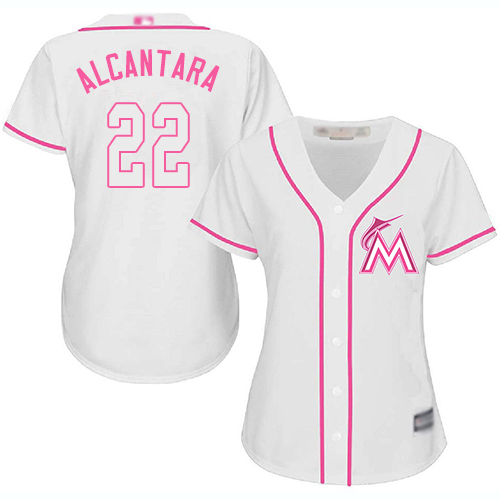 Marlins #22 Sandy Alcantara White Pink Fashion Women's Stitched Baseball Jersey
