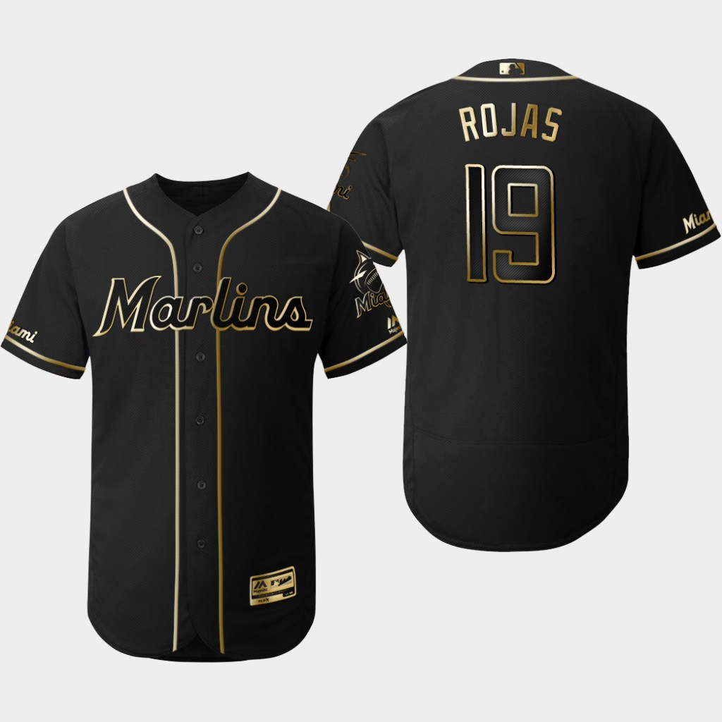Marlins 19 Miguel Rojas Black Gold Flexbase Jersey