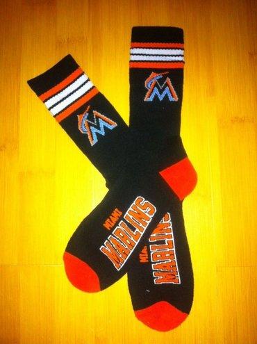 Marlins Team Logo Black Blue MLB Socks