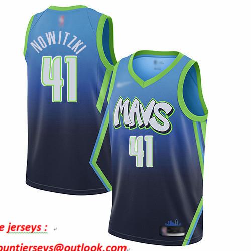 Mavericks #41 Dirk Nowitzki Blue Basketball Swingman City Edition 2019 20 Jersey