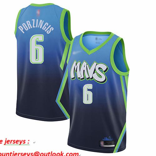 Mavericks #6 Kristaps Porzingis Blue Basketball Swingman City Edition 2019 20 Jersey