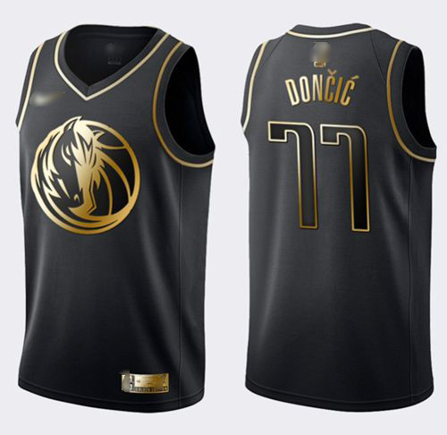 Mavericks #77 Luka Doncic Black Gold Basketball Swingman Limited Edition Jersey