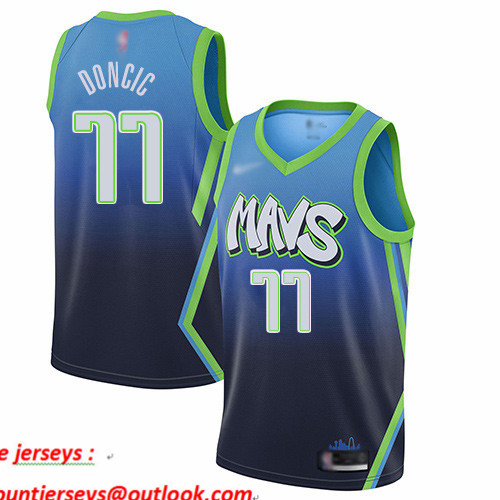 Mavericks #77 Luka Doncic Blue Basketball Swingman City Edition 2019 20 Jersey