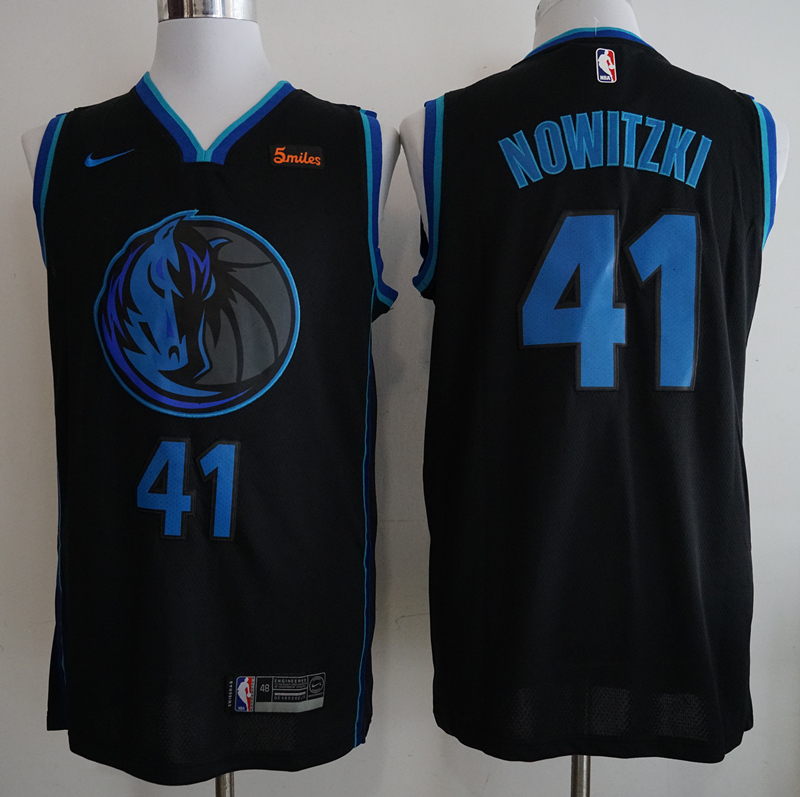 Mavericks 41 Dirk Nowitzki Black 2018-19 City Edition Nike Swingman Jersey