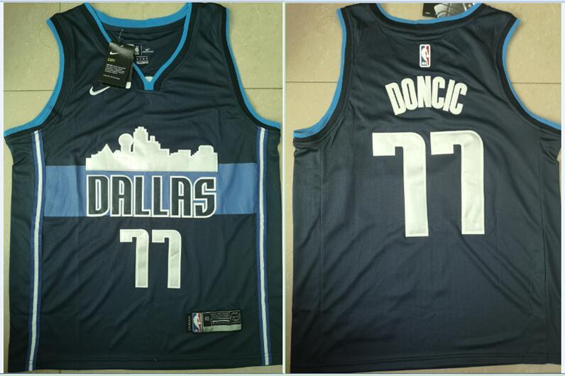 Mavericks 77 Luka Doncic Black Nike Swingman Jersey