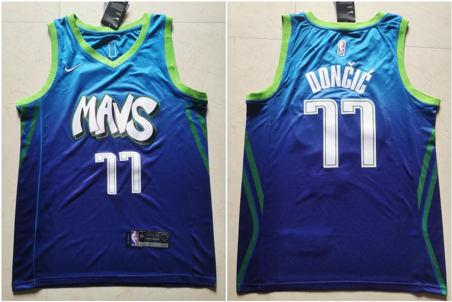 Mavericks 77 Luka Doncic Blue 2019-20 City Edition Nike Swingman Jersey