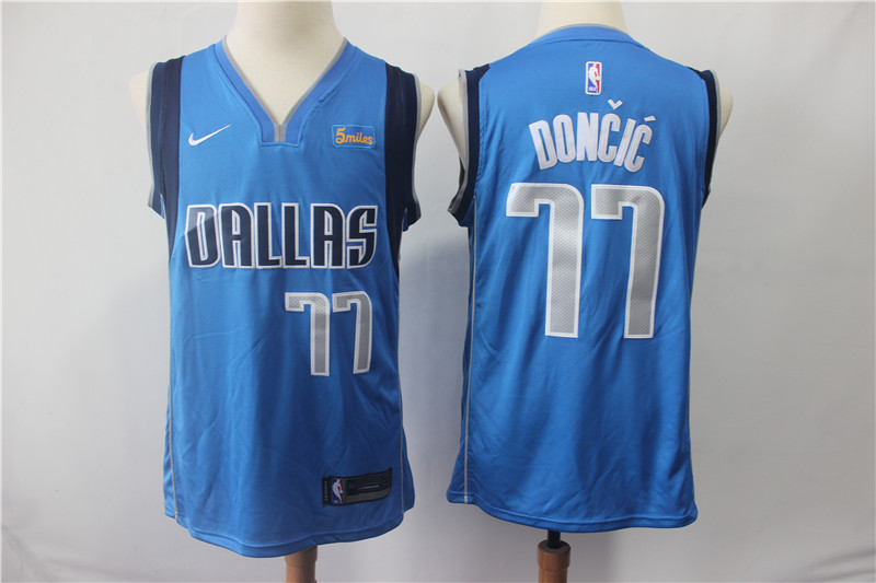 Mavericks 77 Luka Doncic Royal Nike Swingman Jersey