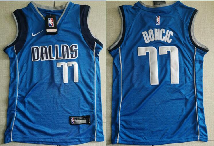 Youth Mavericks 77 Luka Doncic Royal Nike Swingman Jersey