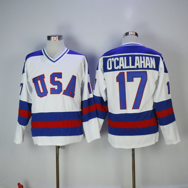 Men's 1980 Olympics USA #17 Jack O'Callahan White Throwback Stitched Vintage Ice Hockey Jersey