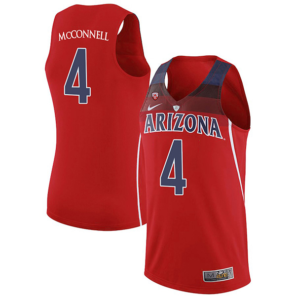 Men's Arizona Wildcats #4 T.J. McConnell Red Stitched NCAA College Basketball Jerseys