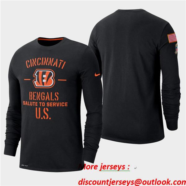 Men's Bengals Black 2019 Salute to Service Sideline Long Sleeve T-Shirt