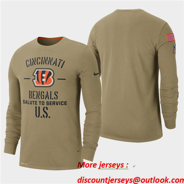 Men's Bengals Tan 2019 Salute to Service Sideline Long Sleeve T-Shirt