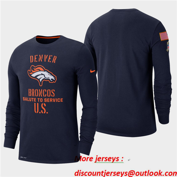 Men's Broncos Navy 2019 Salute to Service Sideline Long Sleeve T-Shirt