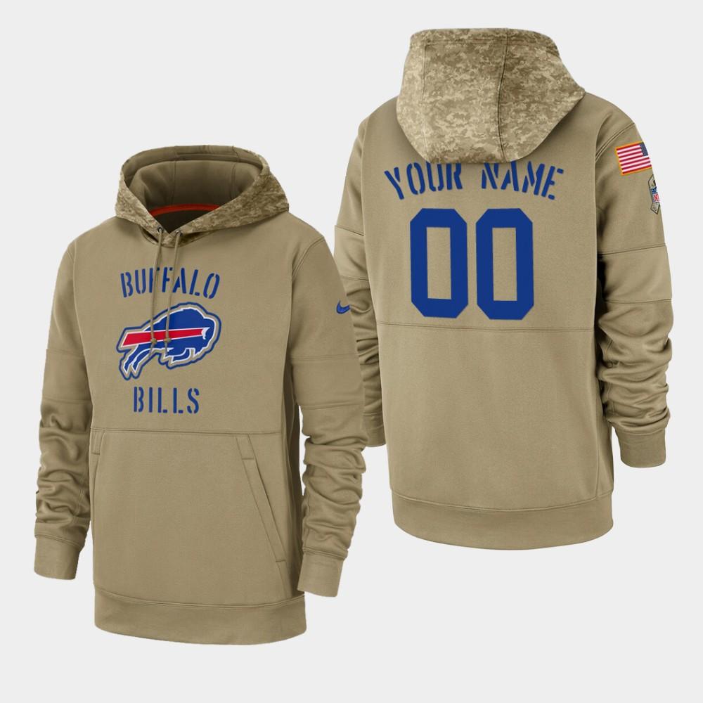 Men's Buffalo Bills Custom 2019 Salute to Service Sideline Therma Pullover Hoodie - Tan