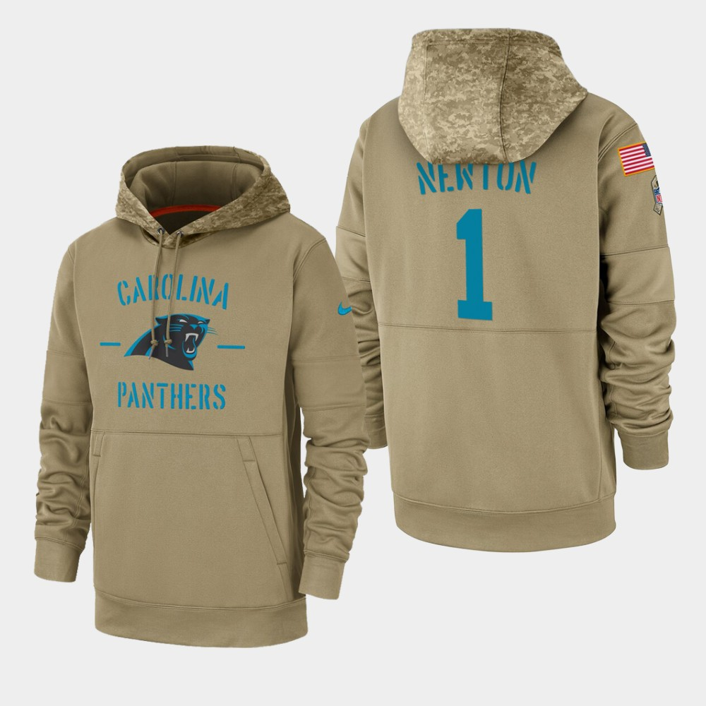 Men's Carolina Panthers Cam Newton 2019 Salute to Service Sideline Therma Pullover Hoodie - Tan