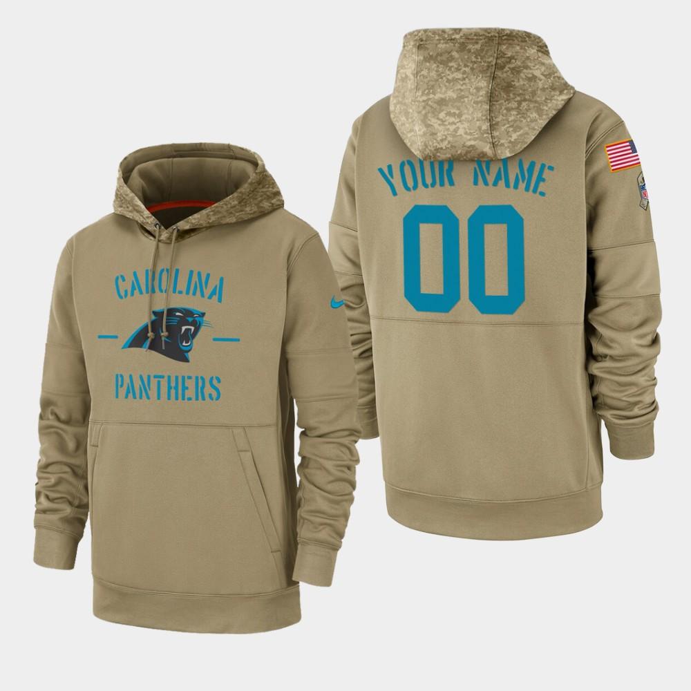 Men's Carolina Panthers Custom 2019 Salute to Service Sideline Therma Hoodie - Tan