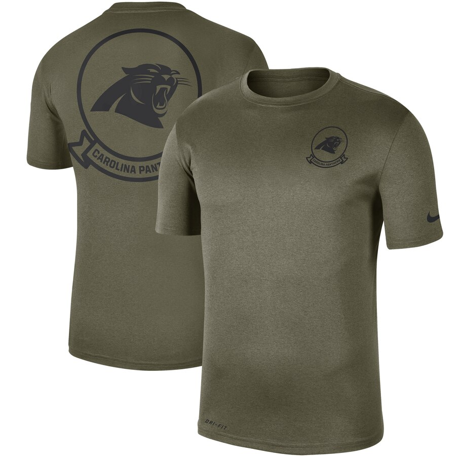 Men's Carolina Panthers Nike Olive 2019 Salute To Service Sideline Seal Legend Performance T-Shirt