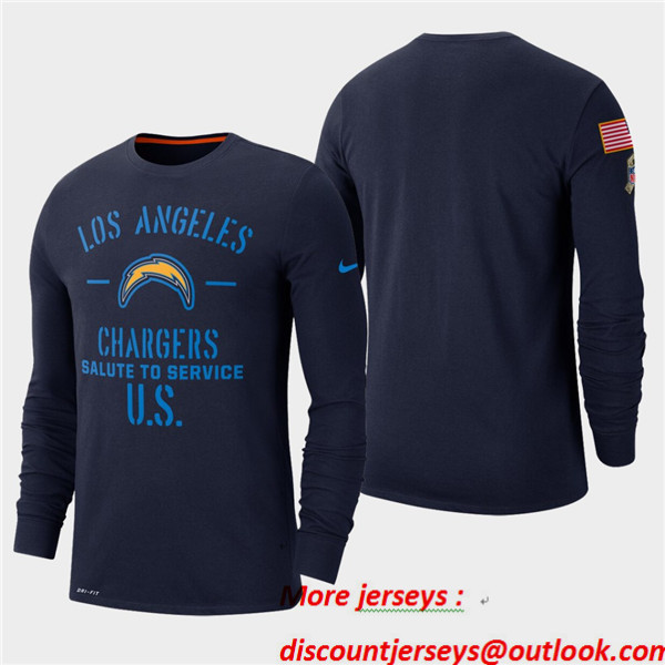 Men's Chargers Navy 2019 Salute to Service Sideline Long Sleeve T-Shirt