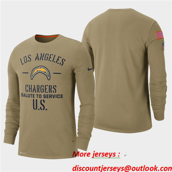 Men's Chargers Tan 2019 Salute to Service Sideline Long Sleeve T-Shirt