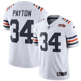 Men's Chicago Bears #34 Walter Payton White 2019 100th Season Alternate Classic Player Limited Jersey