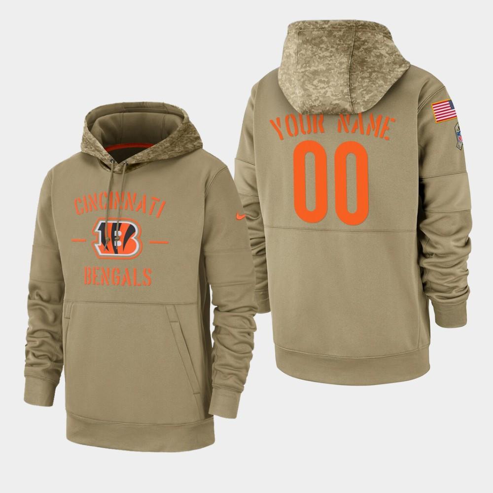 Men's Cincinnati Bengals Custom 2019 Salute to Service Sideline Therma Pullover Hoodie - Tan