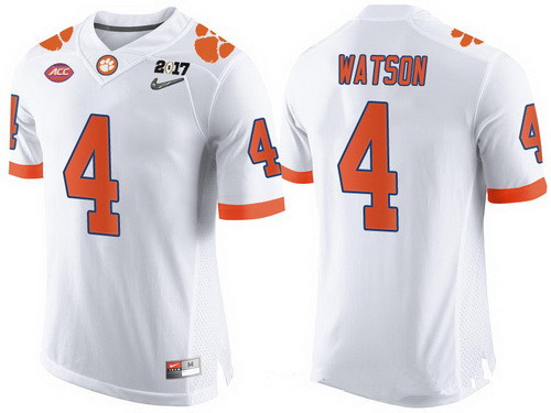Men's Clemson Tigers #4 Deshaun Watson White 2017 Championship Game Patch Stitched CFP Nike Limited Jersey
