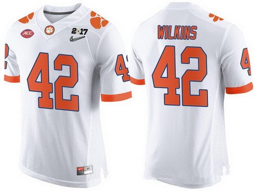 Men's Clemson Tigers #42 Christian Wilkins White 2017 Championship Game Patch Stitched CFP Nike Limited Jersey