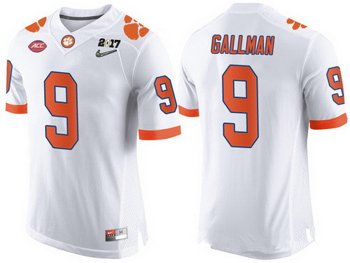 Men's Clemson Tigers #9 Wayne Gallman White 2017 Championship Game Patch Stitched CFP Nike Limited Jersey