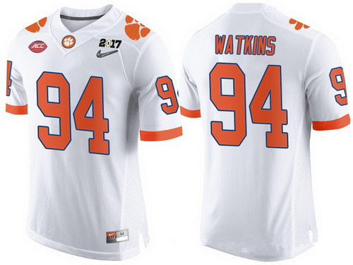 Men's Clemson Tigers #94 Carlos Watkins White 2017 Championship Game Patch Stitched CFP Nike Limited Jersey
